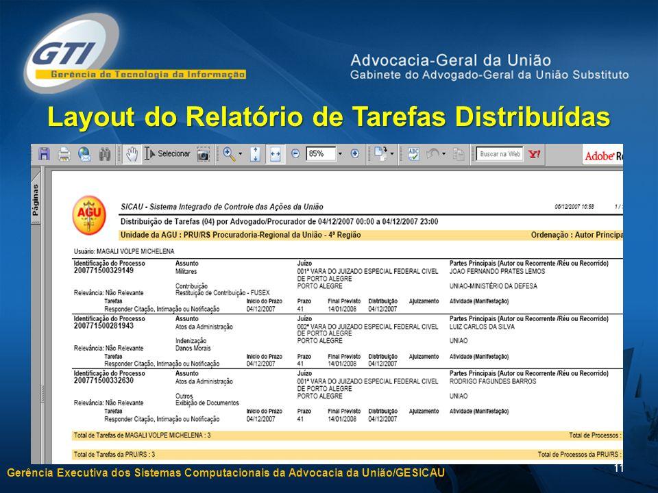 Gerência Executiva dos Sistemas Computacionais da Advocacia da União/GESICAU 11 Layout do Relatório de Tarefas Distribuídas