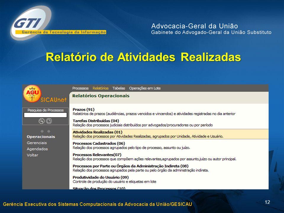 Gerência Executiva dos Sistemas Computacionais da Advocacia da União/GESICAU 12 Relatório de Atividades Realizadas
