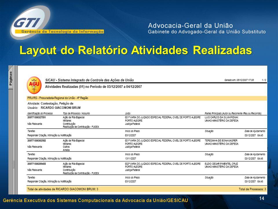 Gerência Executiva dos Sistemas Computacionais da Advocacia da União/GESICAU 14 Layout do Relatório Atividades Realizadas