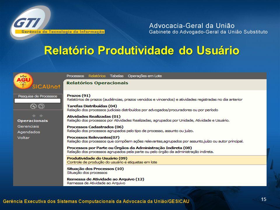 Gerência Executiva dos Sistemas Computacionais da Advocacia da União/GESICAU 15 Relatório Produtividade do Usuário