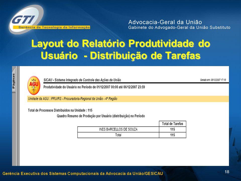 Gerência Executiva dos Sistemas Computacionais da Advocacia da União/GESICAU 18 Layout do Relatório Produtividade do Usuário - Distribuição de Tarefas