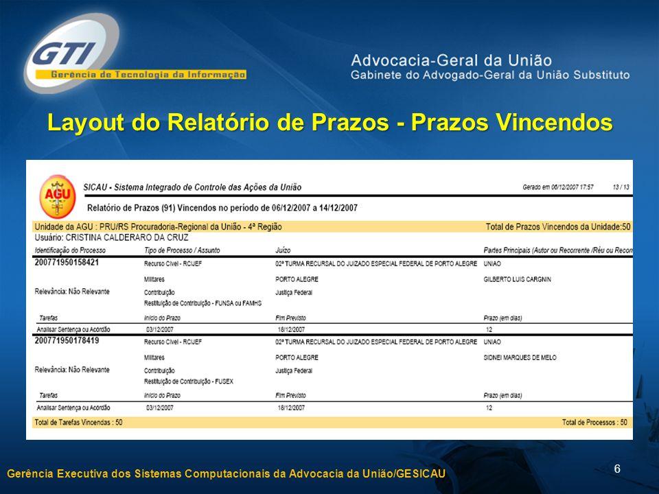Gerência Executiva dos Sistemas Computacionais da Advocacia da União/GESICAU 6 Layout do Relatório de Prazos - Prazos Vincendos