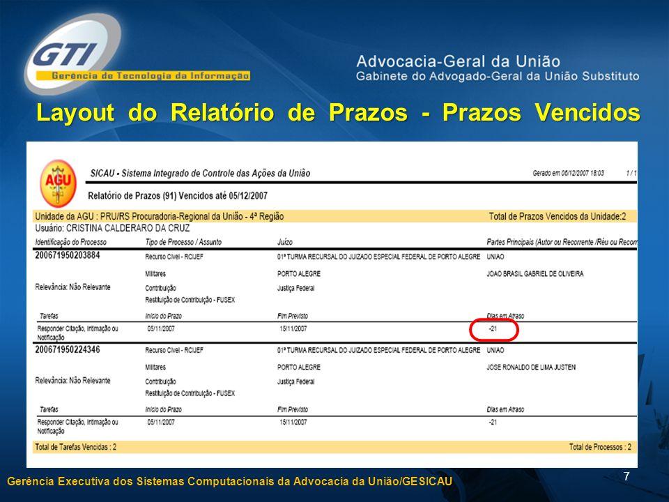 Gerência Executiva dos Sistemas Computacionais da Advocacia da União/GESICAU 7 Layout do Relatório de Prazos - Prazos Vencidos