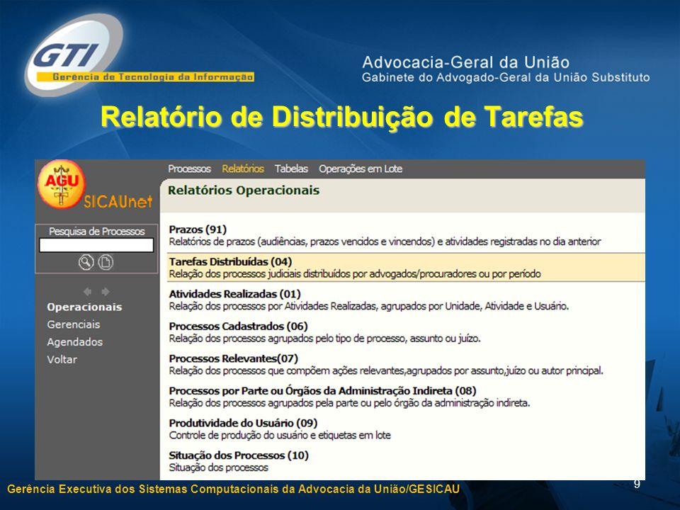 Gerência Executiva dos Sistemas Computacionais da Advocacia da União/GESICAU 9 Relatório de Distribuição de Tarefas