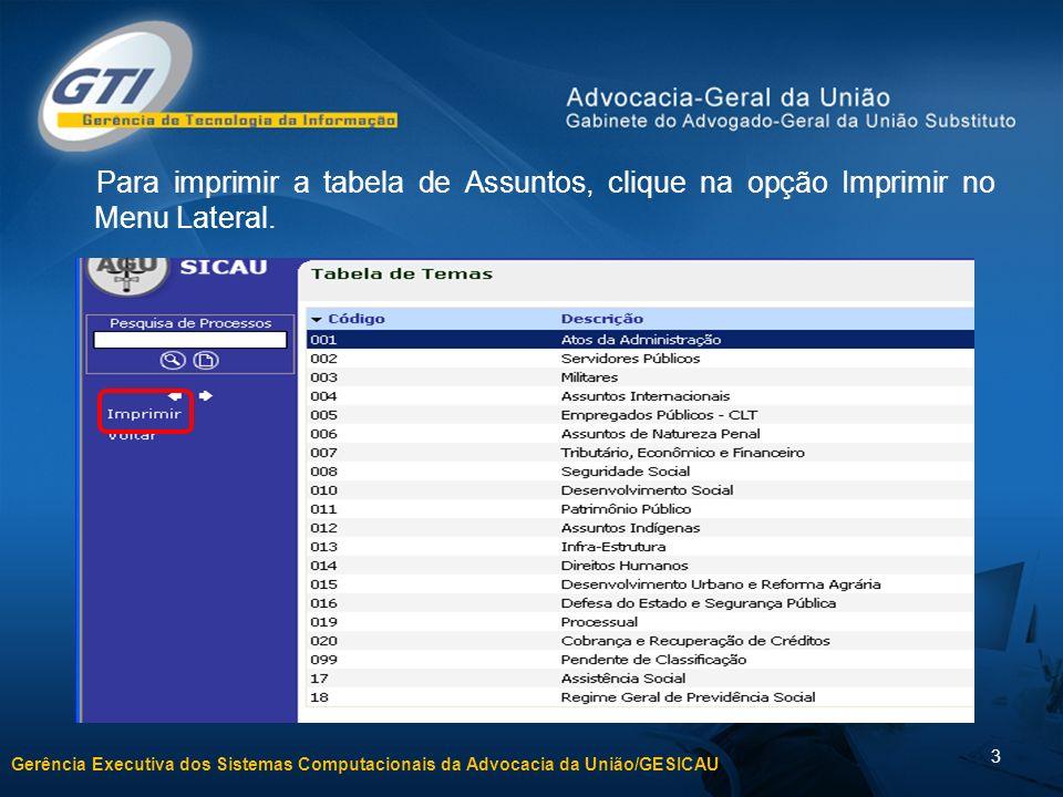 Gerência Executiva dos Sistemas Computacionais da Advocacia da União/GESICAU 3 Para imprimir a tabela de Assuntos, clique na opção Imprimir no Menu Lateral.