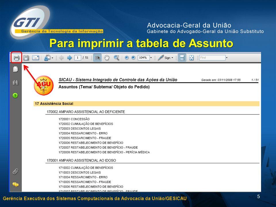 Gerência Executiva dos Sistemas Computacionais da Advocacia da União/GESICAU 5 Para imprimir a tabela de Assunto