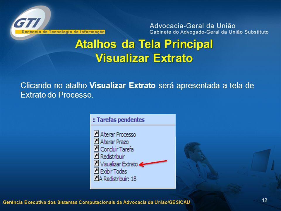 Gerência Executiva dos Sistemas Computacionais da Advocacia da União/GESICAU 12 Clicando no atalho Visualizar Extrato será apresentada a tela de Extra