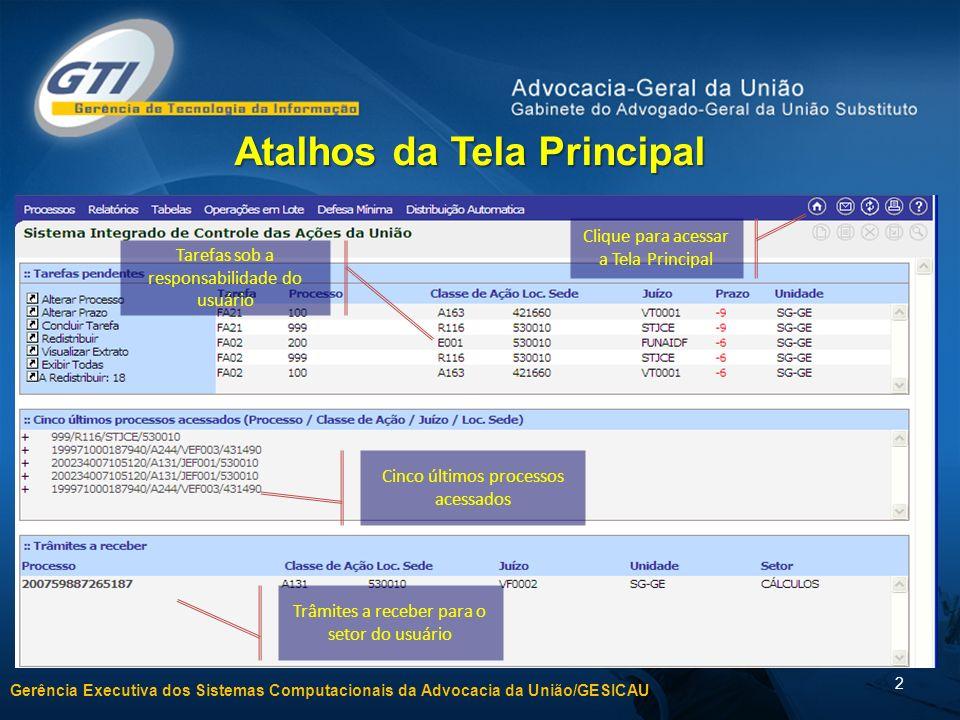 Gerência Executiva dos Sistemas Computacionais da Advocacia da União/GESICAU 2 Clique para acessar a Tela Principal Atalhos da Tela Principal Tarefas