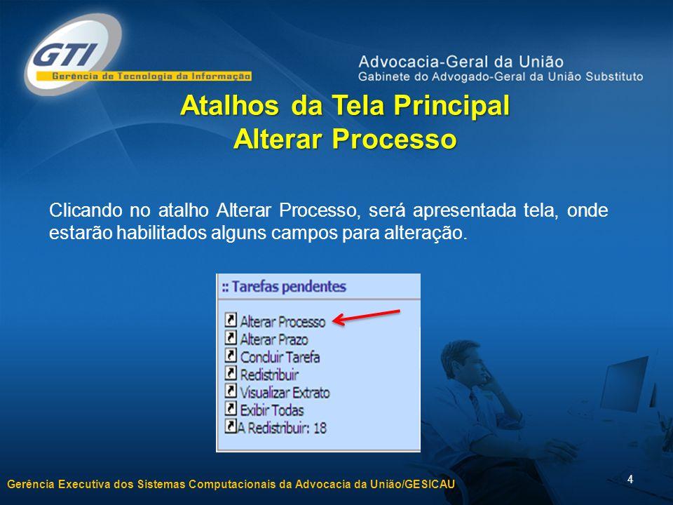 Gerência Executiva dos Sistemas Computacionais da Advocacia da União/GESICAU 4 Clicando no atalho Alterar Processo, será apresentada tela, onde estarã