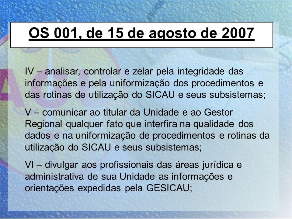OS 001, de 15 de agosto de 2007 IV – analisar, controlar e zelar pela integridade das informações e pela uniformização dos procedimentos e das rotinas