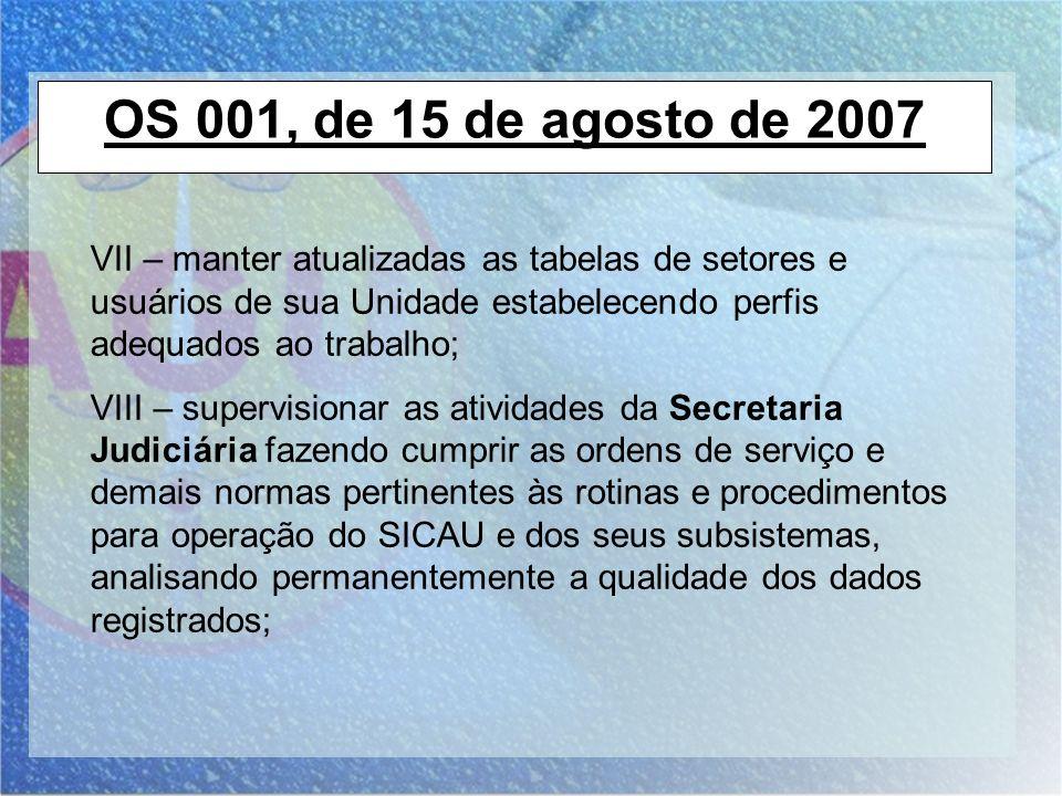 OS 001, de 15 de agosto de 2007 VII – manter atualizadas as tabelas de setores e usuários de sua Unidade estabelecendo perfis adequados ao trabalho; V