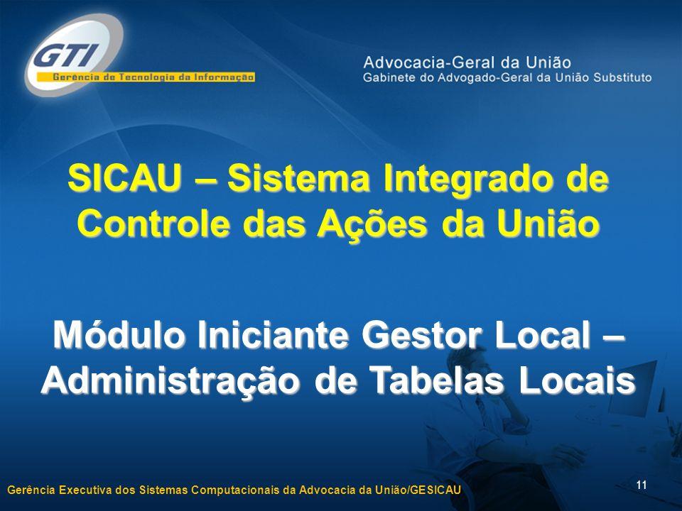 Gerência Executiva dos Sistemas Computacionais da Advocacia da União/GESICAU 11 SICAU – Sistema Integrado de Controle das Ações da União Módulo Inicia