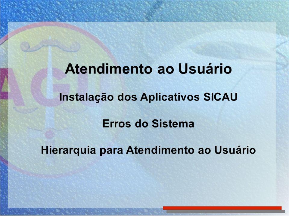 Atendimento ao Usuário Instalação dos Aplicativos SICAU Erros do Sistema Hierarquia para Atendimento ao Usuário