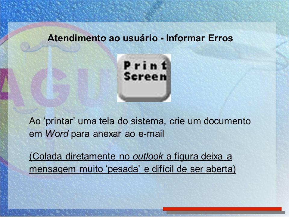Ao printar uma tela do sistema, crie um documento em Word para anexar ao e-mail (Colada diretamente no outlook a figura deixa a mensagem muito pesada
