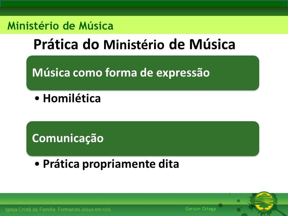 27/1/201414 Igreja Cristã da Família. Formando Jesus em nós. Edificando os Pilares Ministério de Música Gerson Ortega Prática do Ministério de Música