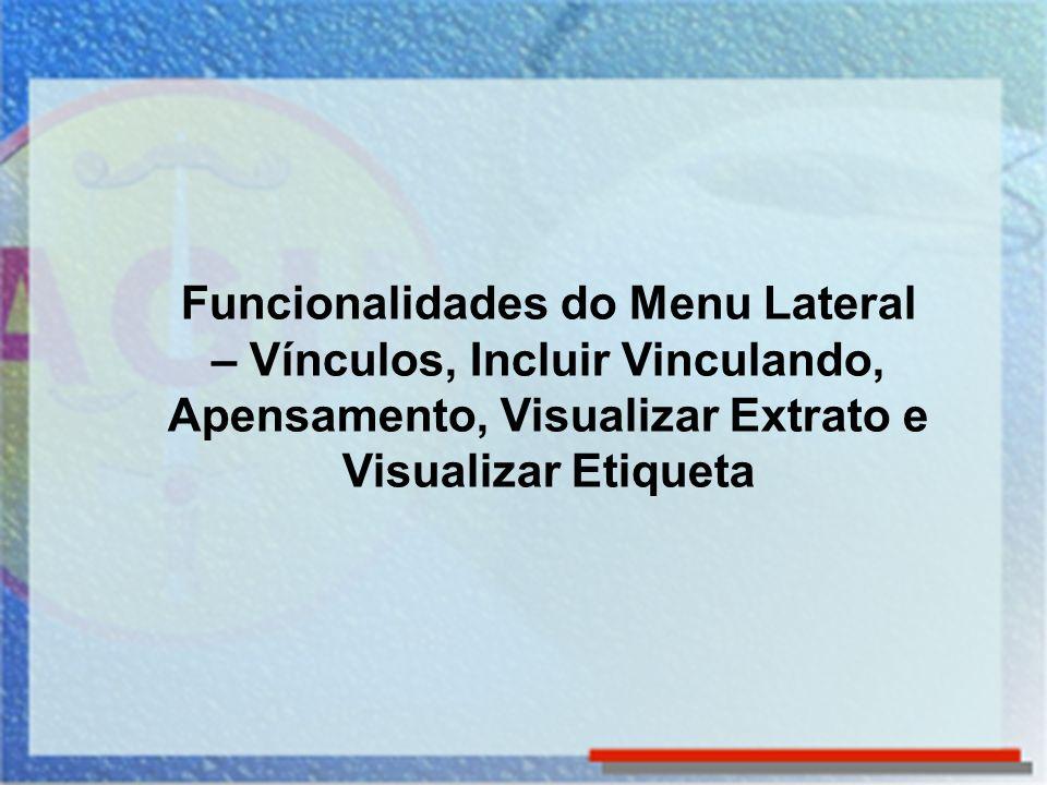 Funcionalidades do Menu Lateral – Vínculos, Incluir Vinculando, Apensamento, Visualizar Extrato e Visualizar Etiqueta