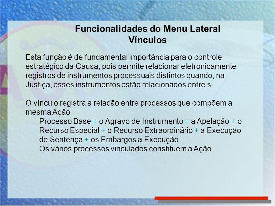 O Vínculo pode ser incluído de duas maneiras: Vinculando dois ou mais processos já registrados na base de dados, ou Incluir Vinculando um novo processo a um processo que já consta da base de dados Funcionalidades do Menu Lateral Vínculos – Inclusão de vínculo