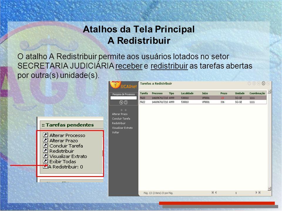 Atalhos da Tela Principal A Redistribuir O atalho A Redistribuir permite aos usuários lotados no setor SECRETARIA JUDICIÁRIA receber e redistribuir as tarefas abertas por outra(s) unidade(s).