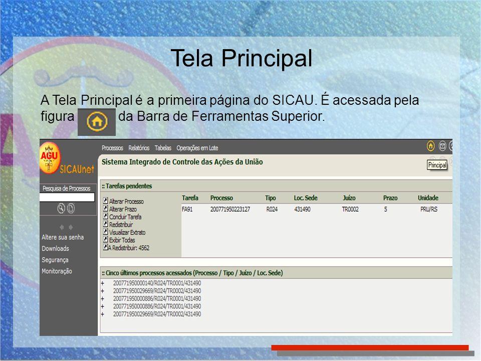 A Tela Principal é a primeira página do SICAU. É acessada pela figura da Barra de Ferramentas Superior.