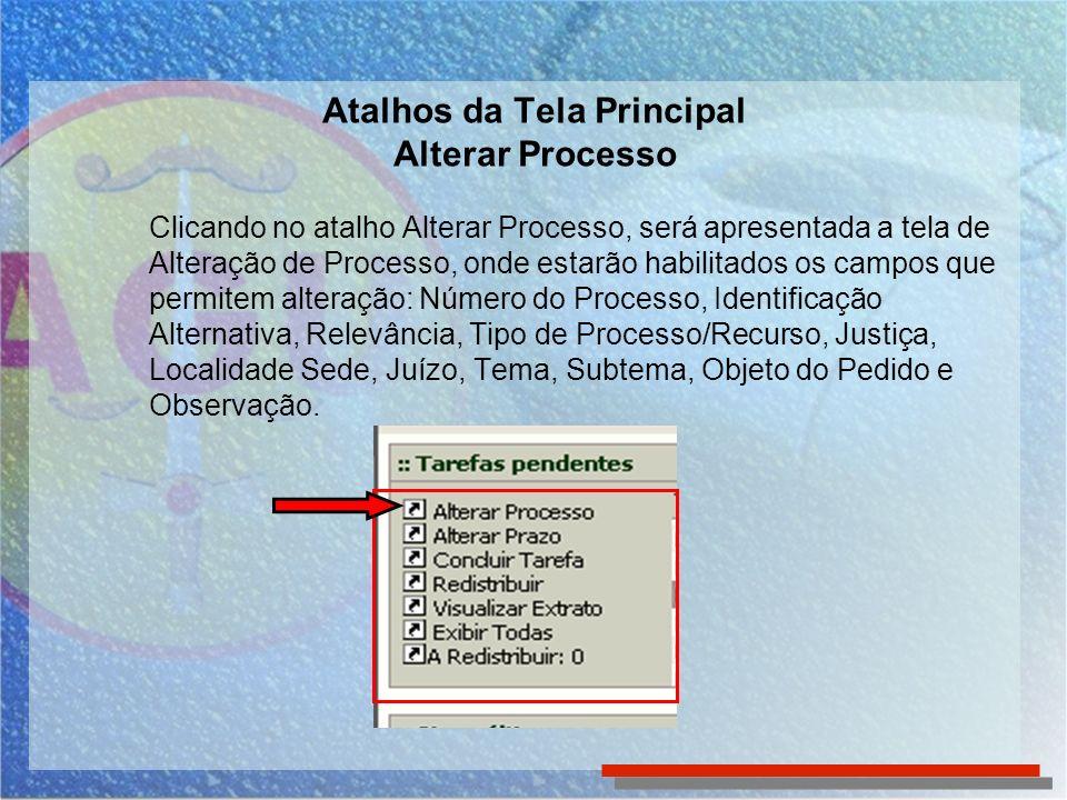 Clicando no atalho Alterar Processo, será apresentada a tela de Alteração de Processo, onde estarão habilitados os campos que permitem alteração: Núme