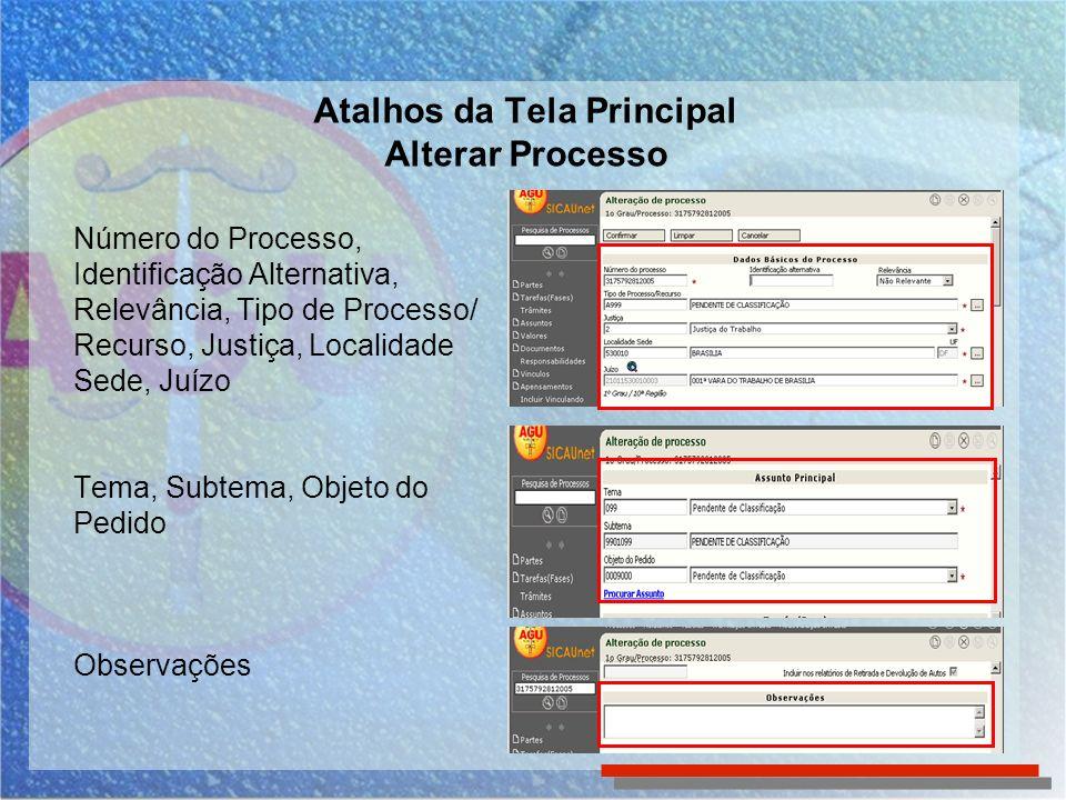 Número do Processo, Identificação Alternativa, Relevância, Tipo de Processo/ Recurso, Justiça, Localidade Sede, Juízo Tema, Subtema, Objeto do Pedido Observações