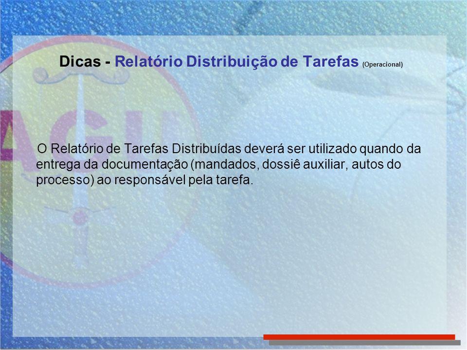 O Relatório de Tarefas Distribuídas deverá ser utilizado quando da entrega da documentação (mandados, dossiê auxiliar, autos do processo) ao responsáv