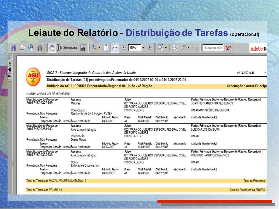 Leiaute do Relatório - Distribuição de Tarefas (operacional)