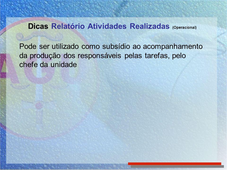 Dicas Relatório Atividades Realizadas (Operacional) Pode ser utilizado como subsídio ao acompanhamento da produção dos responsáveis pelas tarefas, pel