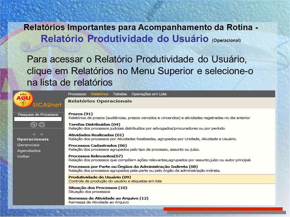 Relatórios Importantes para Acompanhamento da Rotina - Relatório Produtividade do Usuário (Operacional) Para acessar o Relatório Produtividade do Usuá