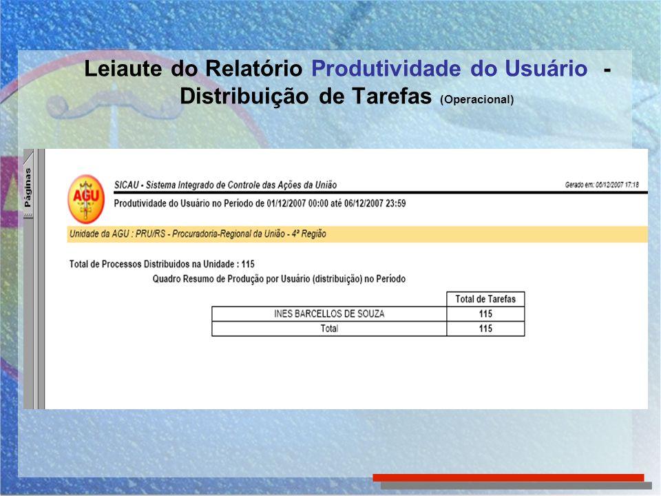 Leiaute do Relatório Produtividade do Usuário - Distribuição de Tarefas (Operacional)