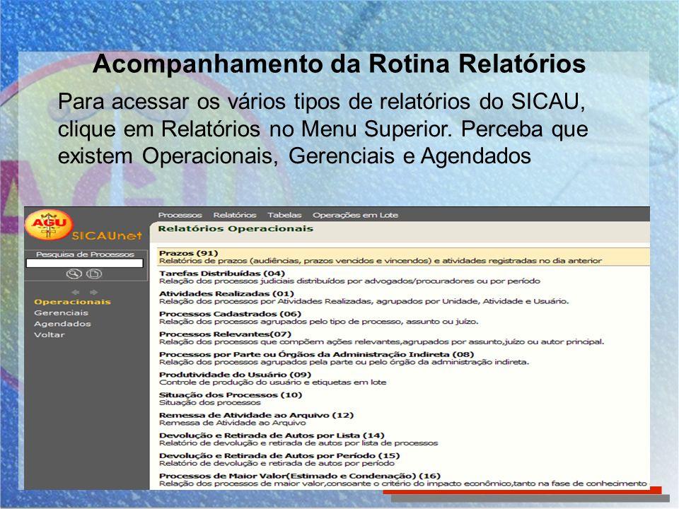 Para acessar os vários tipos de relatórios do SICAU, clique em Relatórios no Menu Superior. Perceba que existem Operacionais, Gerenciais e Agendados