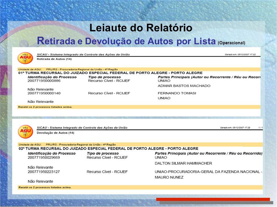 Leiaute do Relatório R etirada e Devolução de Autos por Lista (Operacional)
