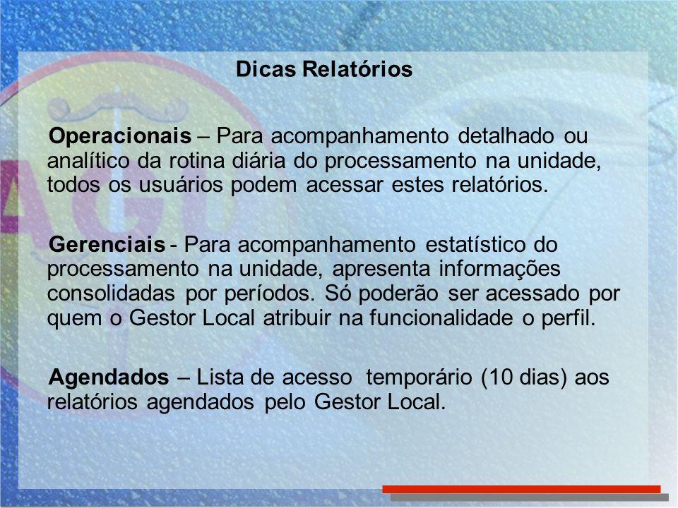Dicas Relatório Atividades Realizadas (Operacional) Pode ser utilizado como subsídio ao acompanhamento da produção dos responsáveis pelas tarefas, pelo chefe da unidade