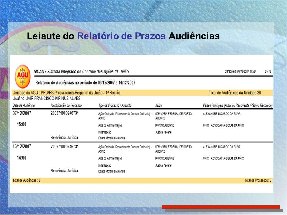 Leiaute do Relatório de Prazos Audiências