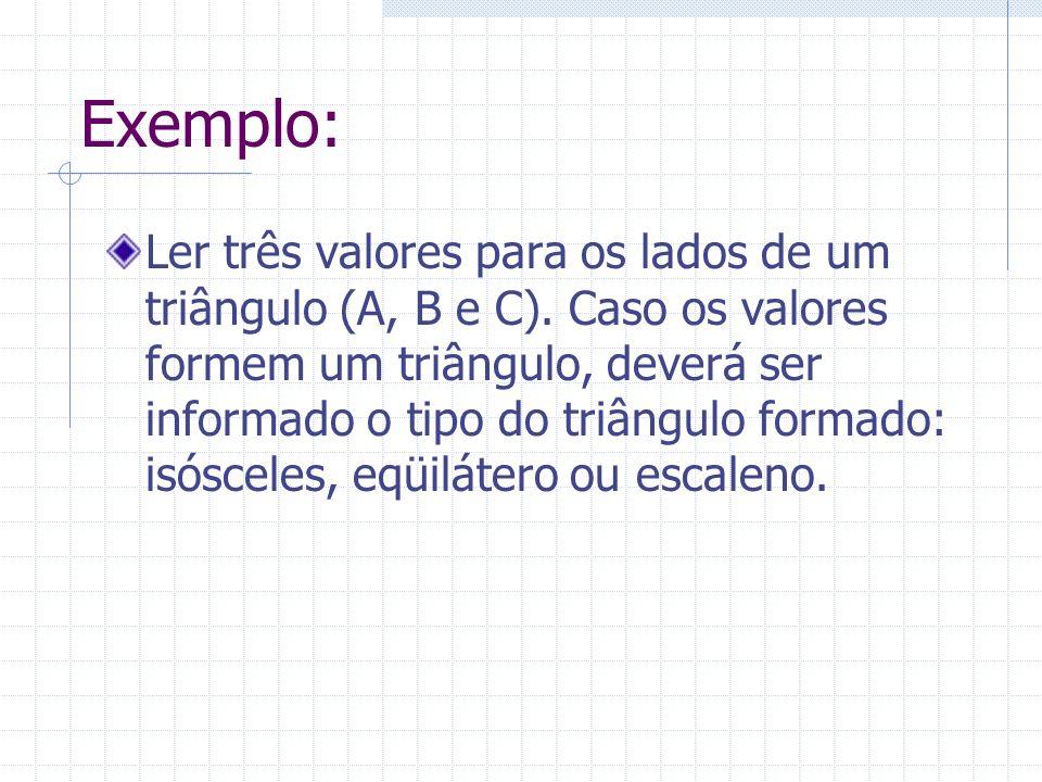 Exemplo: Ler três valores para os lados de um triângulo (A, B e C). Caso os valores formem um triângulo, deverá ser informado o tipo do triângulo form