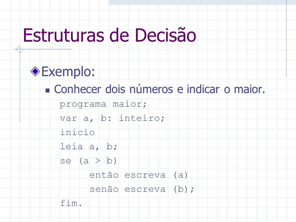 Estruturas de Decisão Exemplo: Conhecer dois números e indicar o maior. programa maior; var a, b: inteiro; inicio leia a, b; se (a > b) então escreva