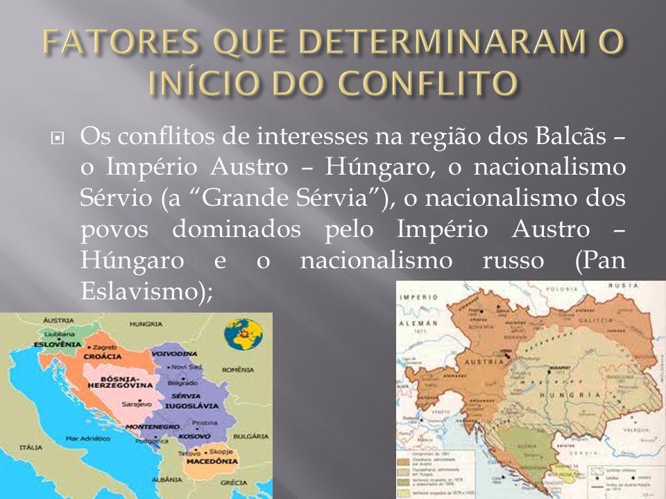 As rivalidades entre os países imperialistas – luta por mercados; O desenvolvimento econômico da Alemanha e o fracasso da diplomacia de Bismarck; O Pa