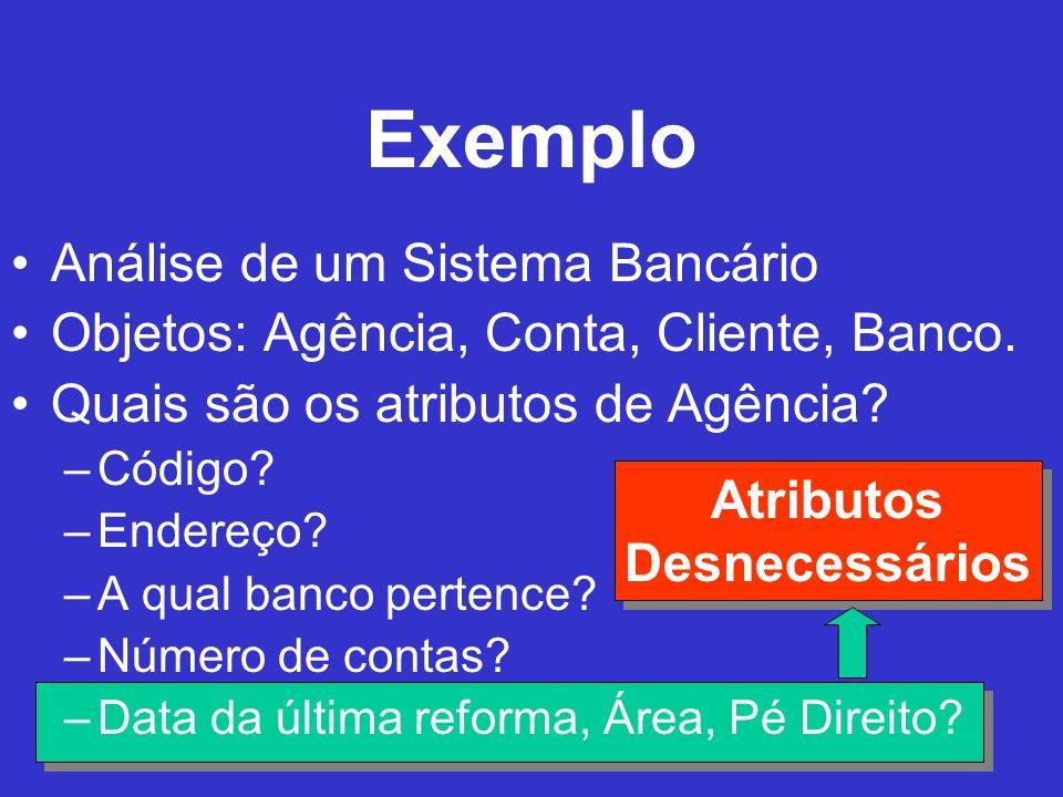 Exemplo Análise de um Sistema Bancário Objetos: Agência, Conta, Cliente, Banco. Quais são os atributos de Agência? –Código? –Endereço? –A qual banco p