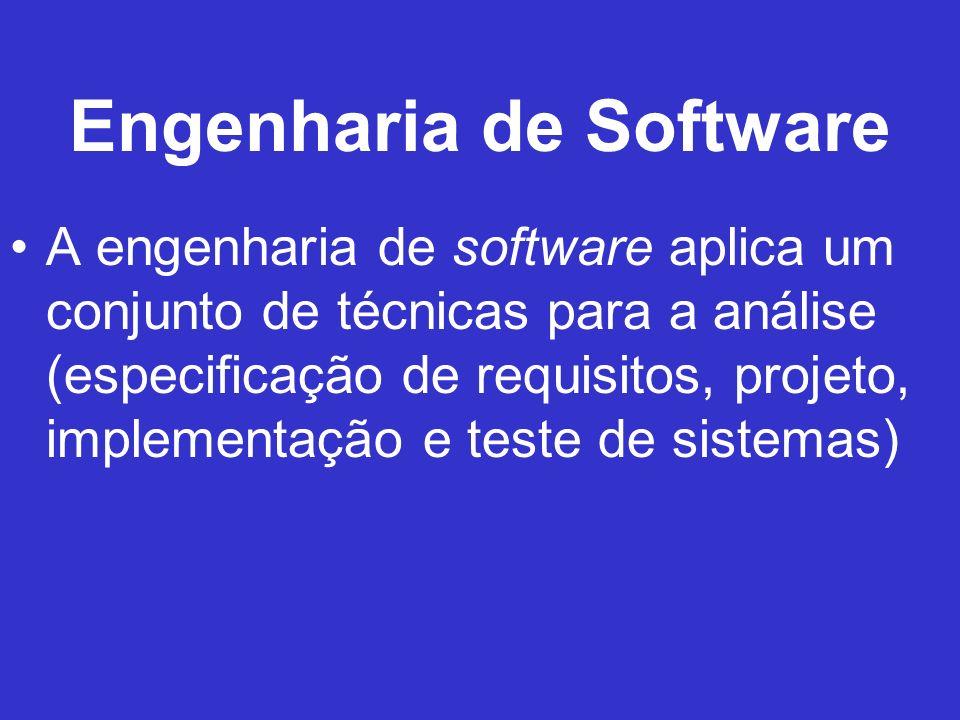 Engenharia de Software A engenharia de software aplica um conjunto de técnicas para a análise (especificação de requisitos, projeto, implementação e t