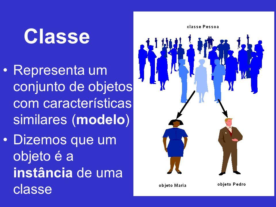 Classe Representa um conjunto de objetos com características similares (modelo) Dizemos que um objeto é a instância de uma classe
