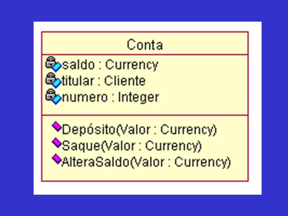 Exercício As características apresentadas por uma classe são divididas em duas partes: Atributos (onde são armazenados os dados) e Operações (são as funções associadas).