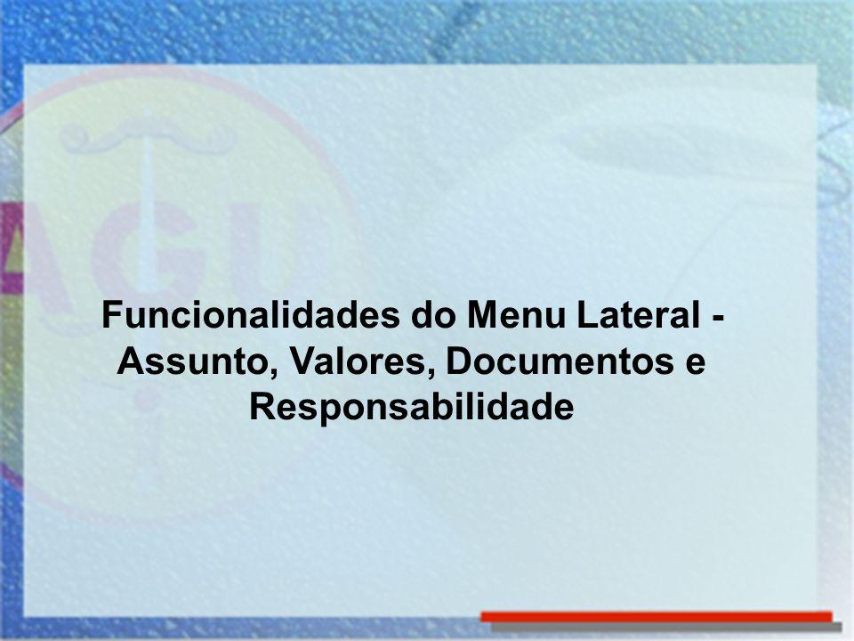 Funcionalidades do Menu Lateral - Assunto, Valores, Documentos e Responsabilidade