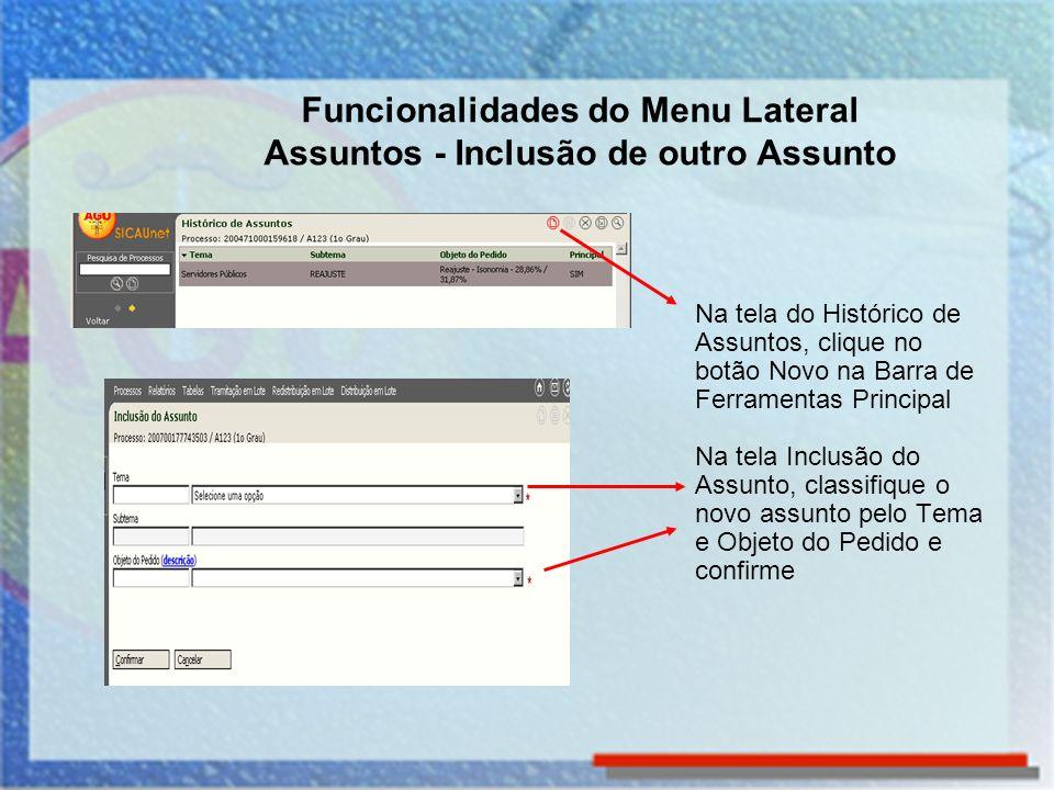 Funcionalidades do Menu Lateral Assuntos - Inclusão de outro Assunto Na tela do Histórico de Assuntos, clique no botão Novo na Barra de Ferramentas Pr