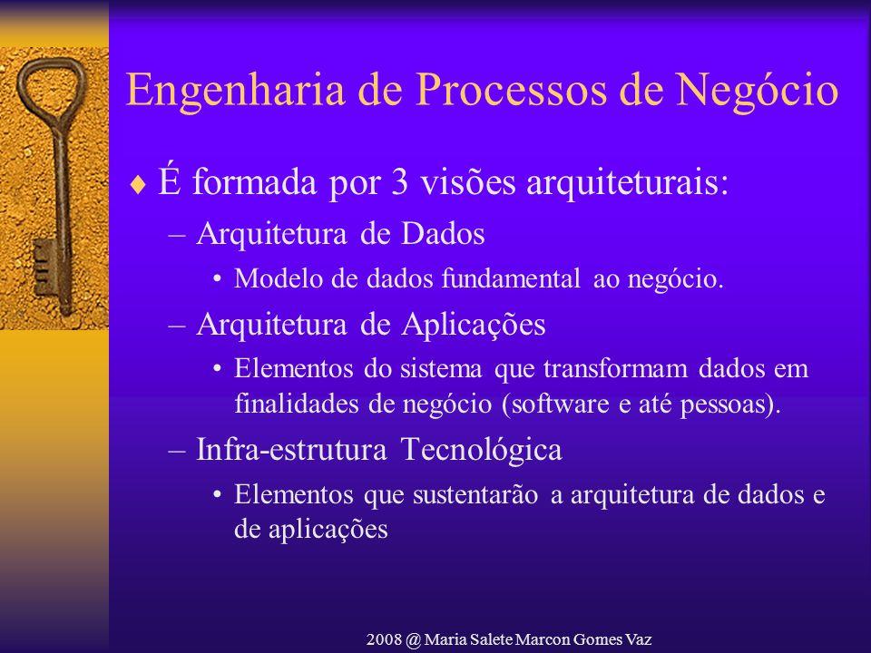 2008 @ Maria Salete Marcon Gomes Vaz Engenharia de Processos de Negócio É formada por 3 visões arquiteturais: –Arquitetura de Dados Modelo de dados fu