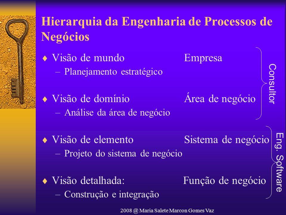 2008 @ Maria Salete Marcon Gomes Vaz Hierarquia da Engenharia de Processos de Negócios Visão de mundoEmpresa –Planejamento estratégico Visão de domíni