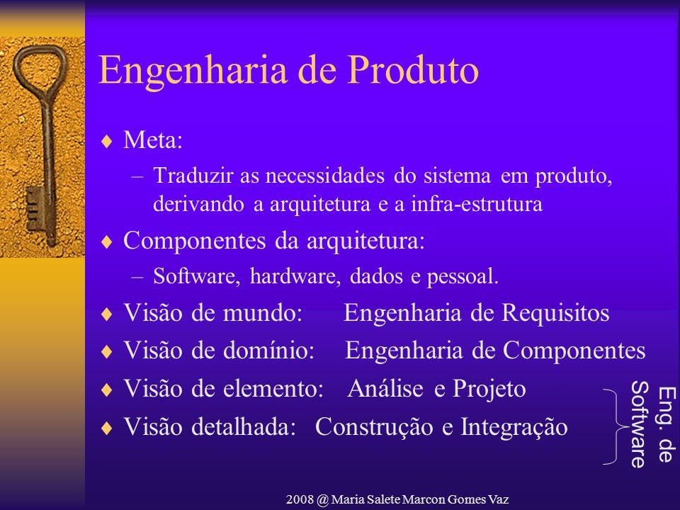2008 @ Maria Salete Marcon Gomes Vaz Engenharia de Produto Meta: –Traduzir as necessidades do sistema em produto, derivando a arquitetura e a infra-es