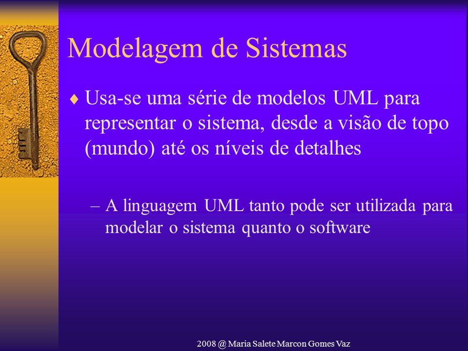 2008 @ Maria Salete Marcon Gomes Vaz Modelagem de Sistemas Usa-se uma série de modelos UML para representar o sistema, desde a visão de topo (mundo) a