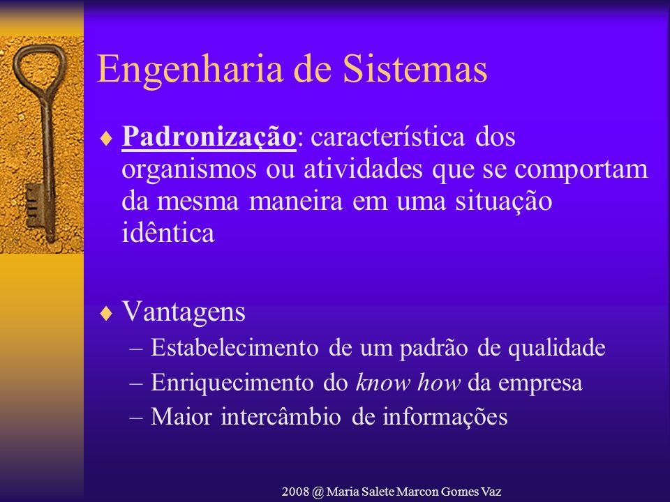 2008 @ Maria Salete Marcon Gomes Vaz Engenharia de Sistemas Padronização: característica dos organismos ou atividades que se comportam da mesma maneir