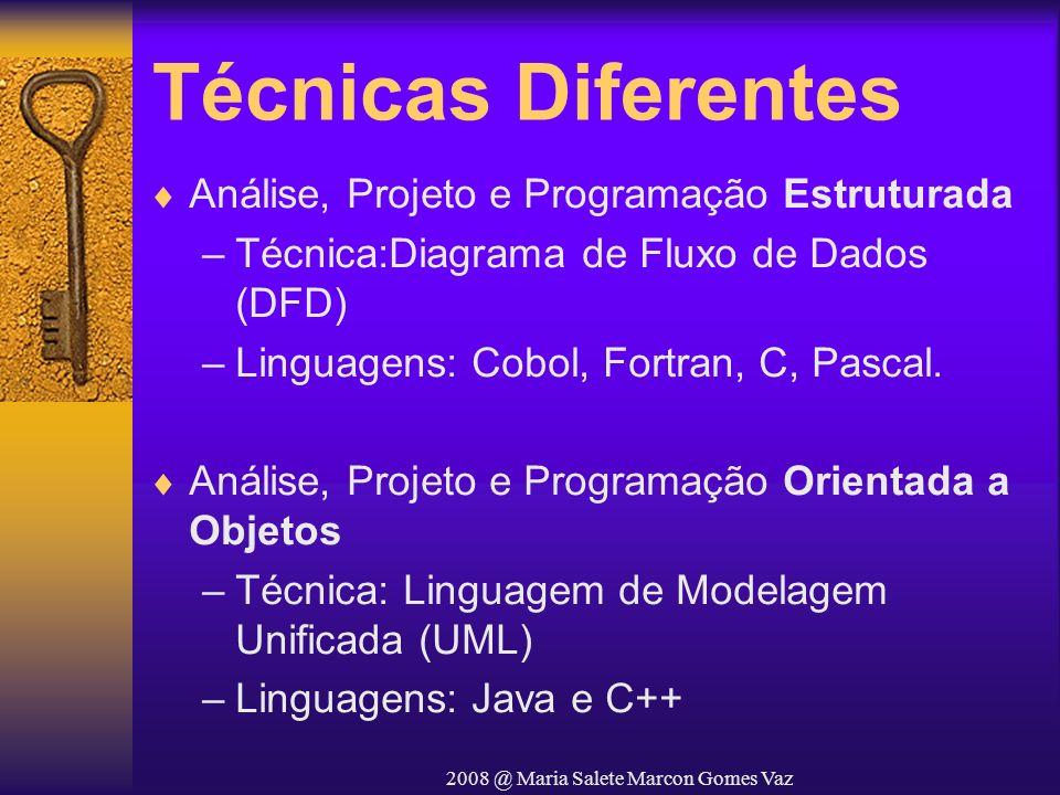 2008 @ Maria Salete Marcon Gomes Vaz Técnicas Diferentes Análise, Projeto e Programação Estruturada –Técnica:Diagrama de Fluxo de Dados (DFD) –Linguag