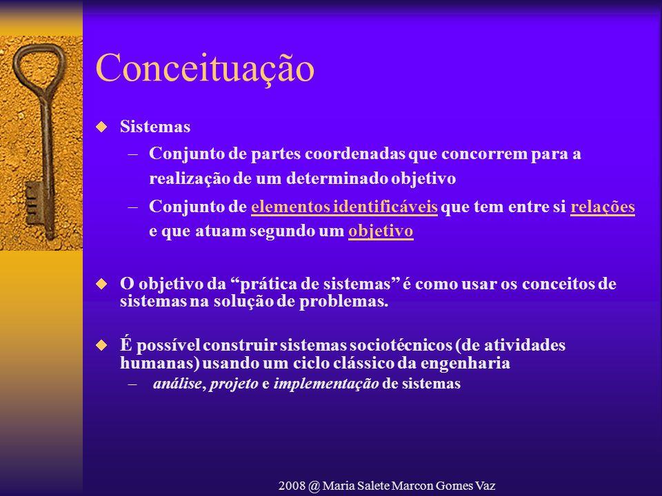 2008 @ Maria Salete Marcon Gomes Vaz Elementos de um sistema Procedimentos Documentos Banco de Dados Pessoas Hardware Software Sistema EntradaSaída Os elementos combinam-se de diversas maneiras para transformar informações